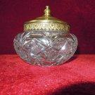 Crystal  Cut Glass Powder Dresser Jar with Brass lid