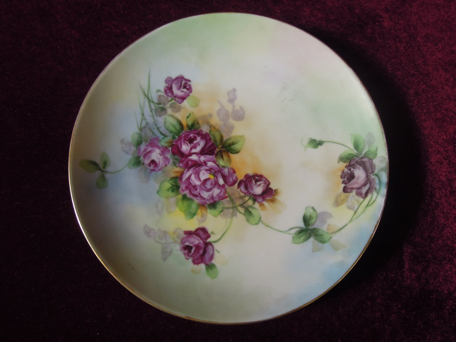 Antique Nippon Signed Hand- painted Floral Plate