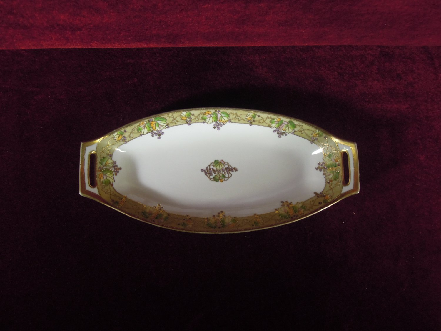 Nippon Dish Hand painted Grape Motif Beaded Gold Trim