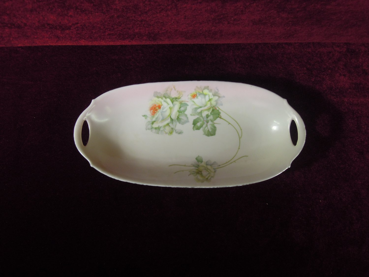 Vintage Bavaria Dish Two Open Handled White Roses Green Leaves