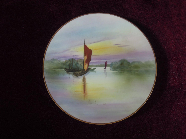 Morimura hand Painted Cabinet Plate Sailboats Rare