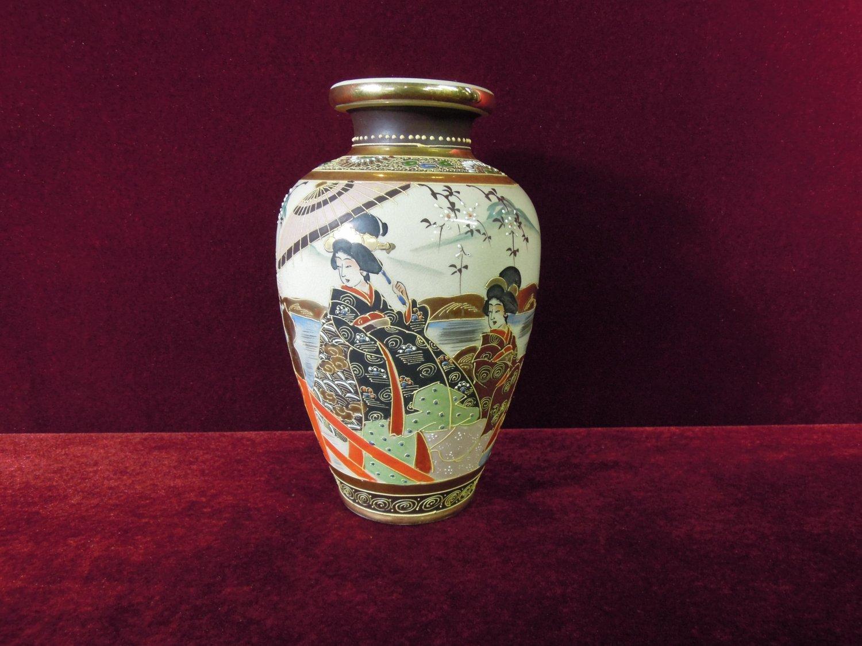 Satsuma Moriage Vase Geisha  Cherry Blossoms Antique 9' Tall
