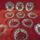 Cut Glass Lunch Plates Etched Strawberry Pattern Eleven