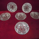 Crystal Dishes Radiant star Crosshatching Design Six