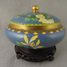 Vintage Cloisonné Jar with Lid Roses Gold Final Wood Stand