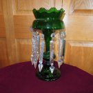 Antique Glass Crystal Luster Lamps Emerald Green