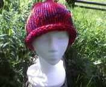Red and Navy Size Large Knit Beanie