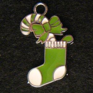 Christmas Sock Pendant (Green/White)