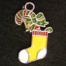 Christmas Sock Pendant (Yellow/White)