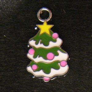 ChristmasTree Pendant (White/Pink)