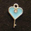 Heart Key Pendant (Light blue)