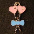 Double Heart Flower Pendant (Pink / Light blue)