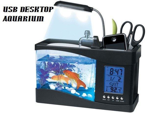 Usb desktop aquarium fish tank black for Desktop fish tank