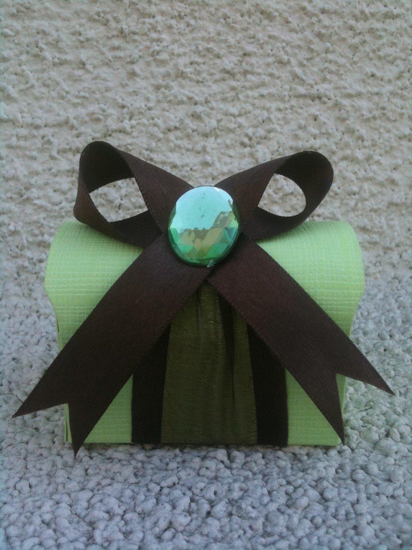 Favor Box- Green treasure box with brown ribbon