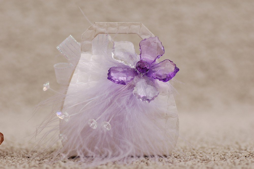 Favor Box- White purse w/purple flower and feather
