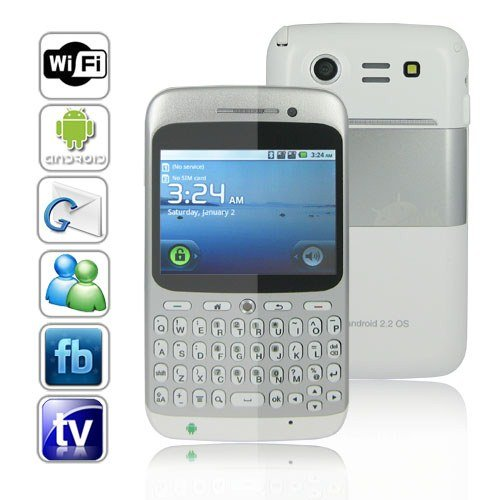 Dual SIM Android 2.2 OS QWERTY Touchscreen Smart Phone Support WIFI + GPS - White