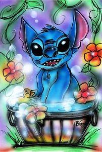 New Disney STITCH Lilo and Stitch Original Airbrush Painting by Bianca Thompson