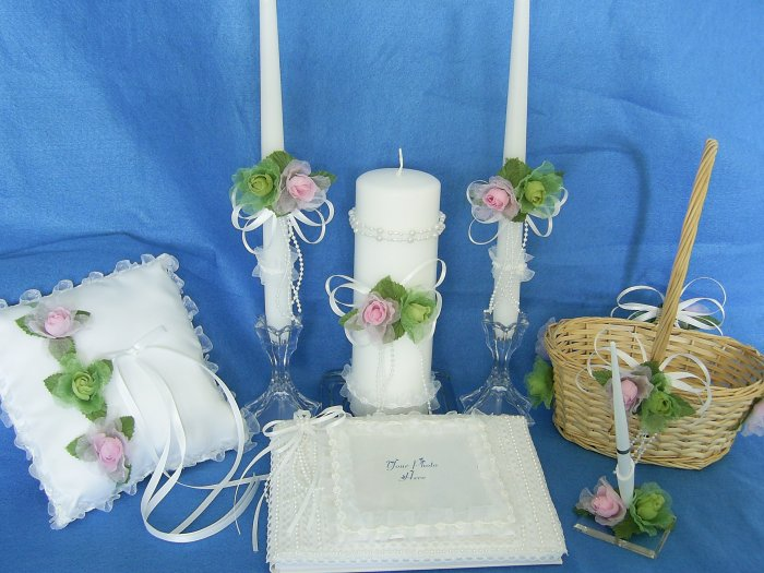 Handcrafted Springtime Parade 4 piece Wedding Accessories Set