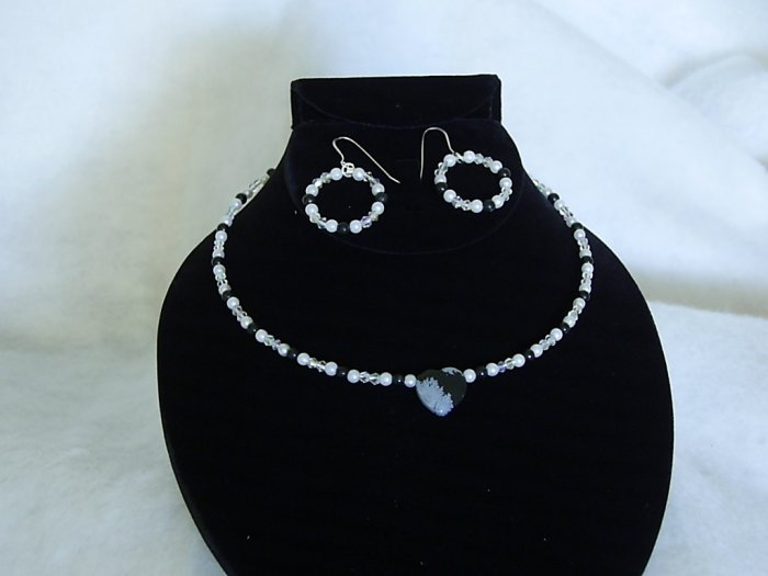 Bridal Jewelry Obsidian Snowflake Heart Choker with Pierced Earrings