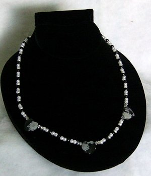 Obsidian Snowflake Heart Trio 21 Inch Necklace