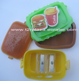 Eraser and Pencil Sharpener Hamburger Lunchbox -  ER110001 - Hamburger and Cola
