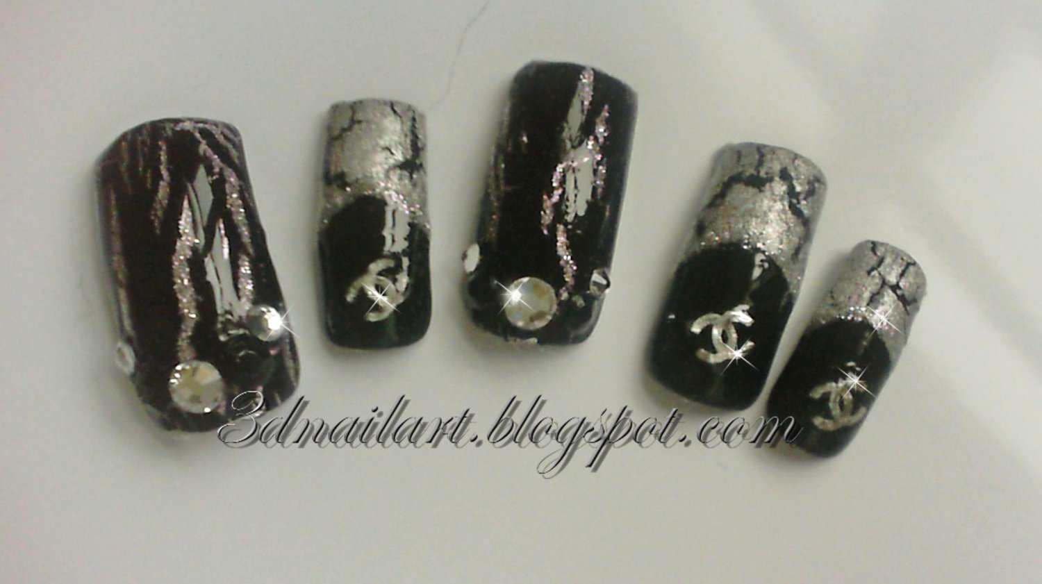 SALE! Silver & Black Chanel Crackle Set