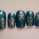 CLEARANCE! Turquoise Glitz with Silver Snowflakes