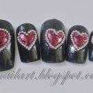 SALE! Steel Magnolia w/Ruby Hearts & Silver Beads