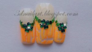 SALE! St. Patty's White & Orange Crackle french
