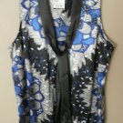WOMEN RENDEZVOUS BLOUSE / SHIRT / TOP BLACK / SILVER / BLUE AND WHITE SIZE SMALL