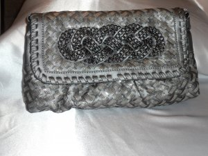 WOVEN CLUTCH EVENING BAG WITH BRAIDED CHAIN DESIGN IN PEWTER