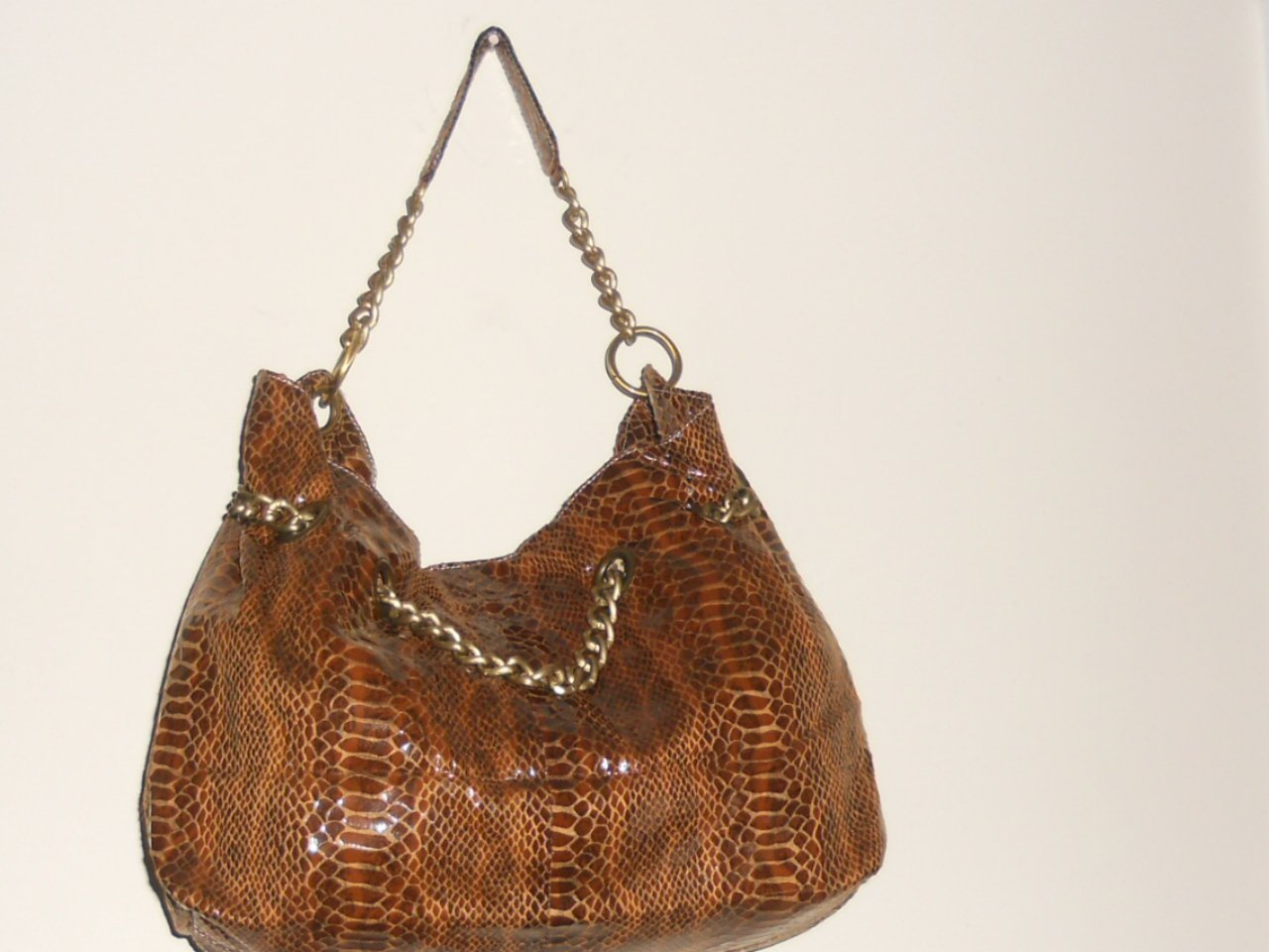 BROWN FAUX SNAKE SKIN DESIGNER INSPIRED HANDBAG