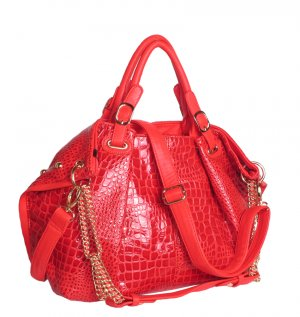 ALISA ANIMAL SKIN TOTE HANDBAG IN RED