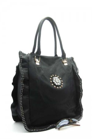 CRYSTAL ACCENTED TOTE HANDBAG IN BLACK
