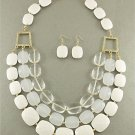 HOT CHUNKY WHITE RESIN LAYERED NECKLACE SET