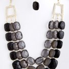 HOT CHUNKY BLACK RESIN LAYERED NECKLACE SET