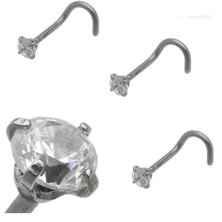 Nose Ring Stainless steel with Clear CZ Jewel Prong Set 18 gauge
