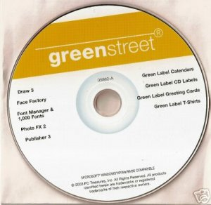 New Greenstreet Software Green Label Card Fonts XP Lot
