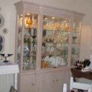 China Cabinet & dining room table w 6 white uphpolstered chairs