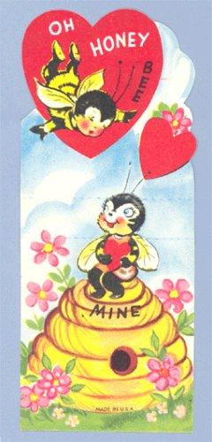 Vintage VALENTINE CARD oh HONEY BEE Mine POP-UP
