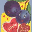 Vintage Valentine GRAPE BIG WAY Personified Food