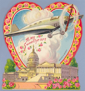 Vintage Valentine AIRPLANE OVER CAPITOL BUILDING 1910s
