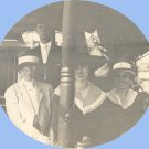 Vintage Photo 1910s GROUP ON BOAT Ferry HAT