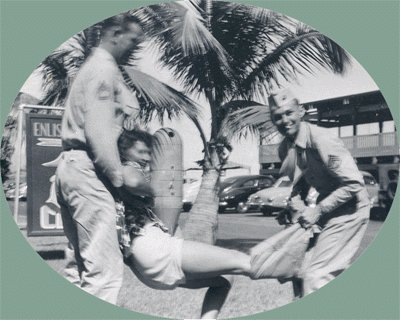 Vintage Photo 1952 PANTSING @ ENLISTED Hawaii MILITARY