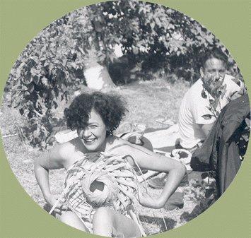 Vintage Photo WOMAN Topless? Sunbather WOVEN HAT