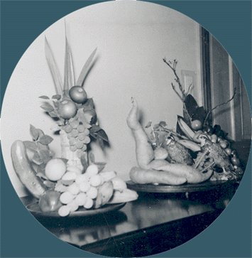 Vintage Photo 1959 FRUIT & VEGETABLE ARRANGEMENTS