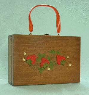 Vintage 1969 WOODEN BOX PURSE Tole Painted STRAWBERRIES