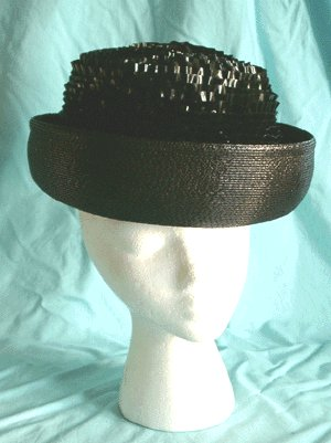 Vintage 1960s BLACK HAT with Vinyl Ruffled Crown