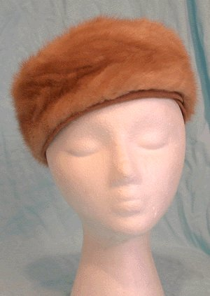 Vintage 1950s/1960s FUR PILL BOX HAT by CECILE