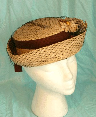 Vintage STRAW HAT with FLOWER & NETTING decoration
